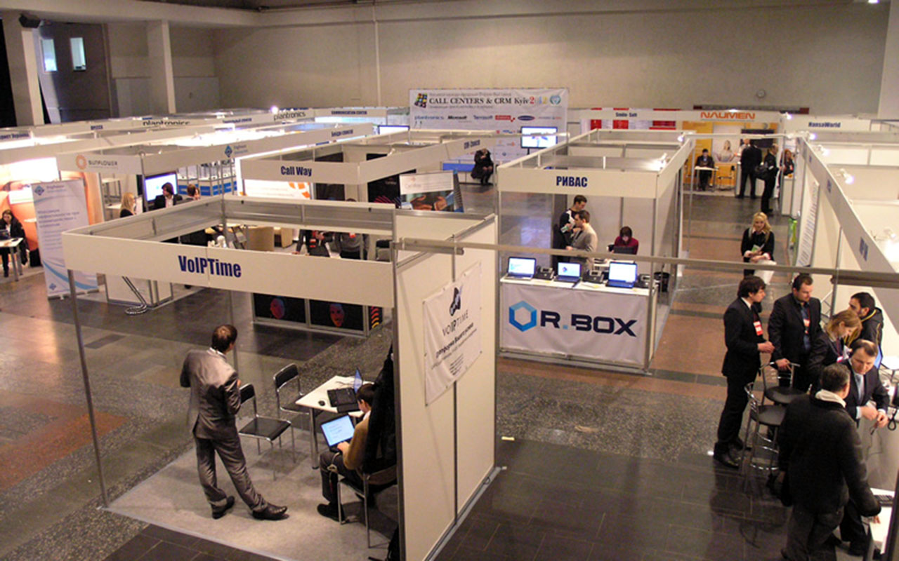 Voiptime's stand. Call Centers & CRM International Business Forum and Exhibition in Kyiv